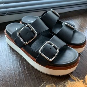 JSlides Bowie Black Leather Sandal